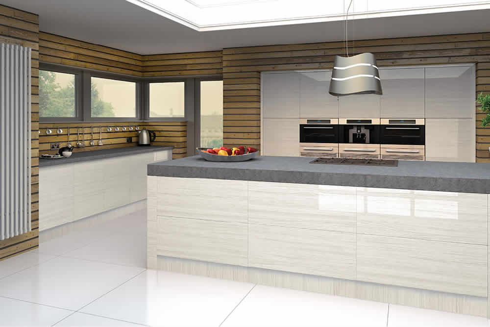 Bella High Gloss Snow Larch Venice Kitchen