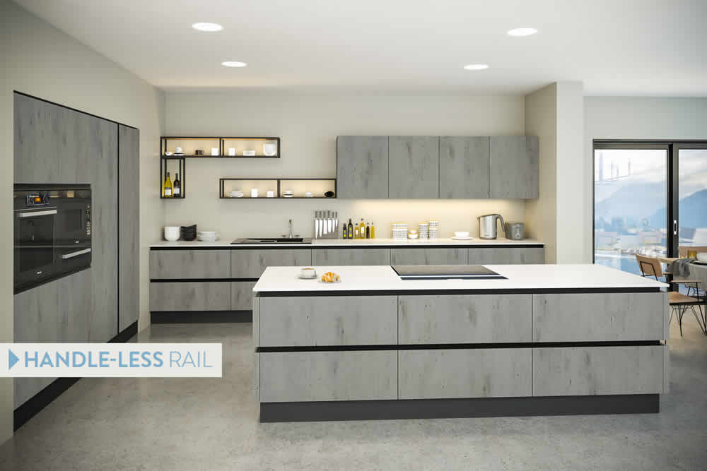 Bella London Concrete Venice Kitchen With Handleless Rail