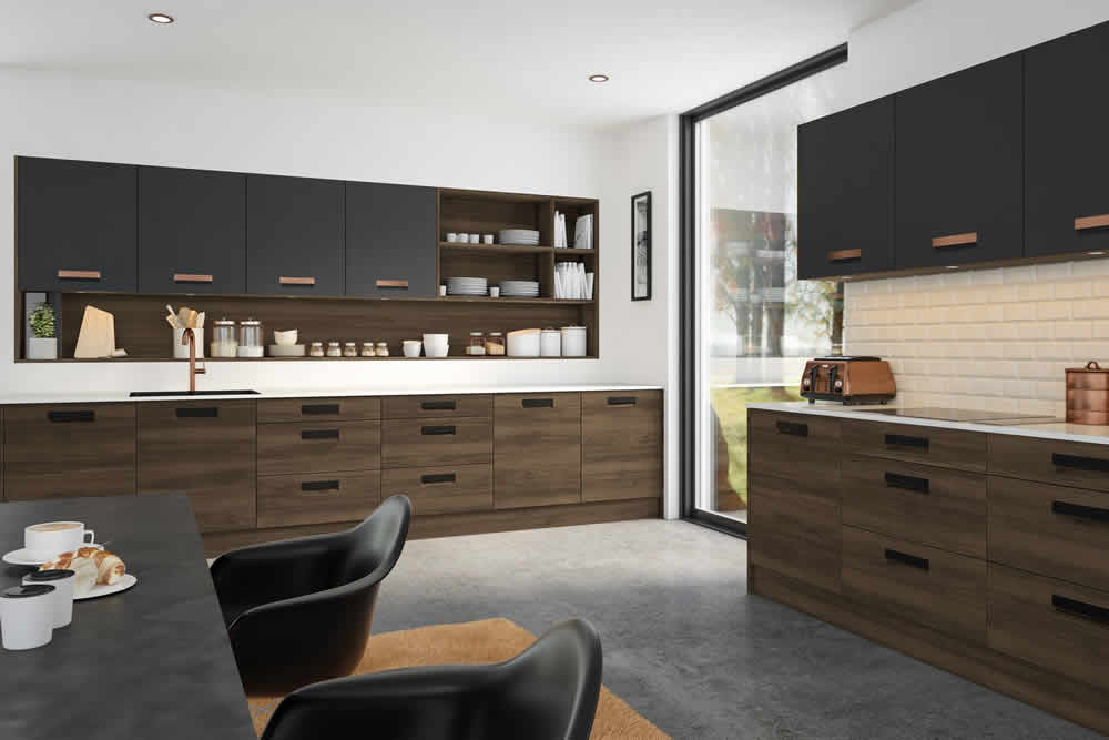 Bella Natural Walnut Matt Graphite Lazio Kitchen