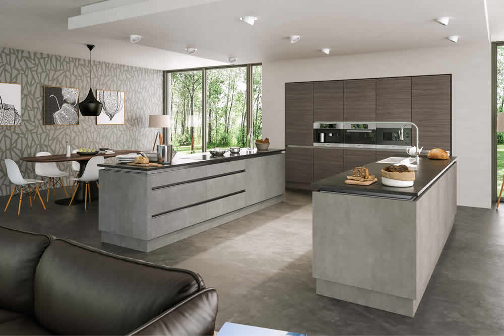 Valore Grey Brown Ontario Walnut Light Concrete Kitchen