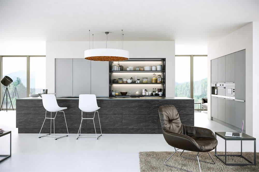 Zurfiz Supermatt Light Grey Evora Stone Graphite Kitchen