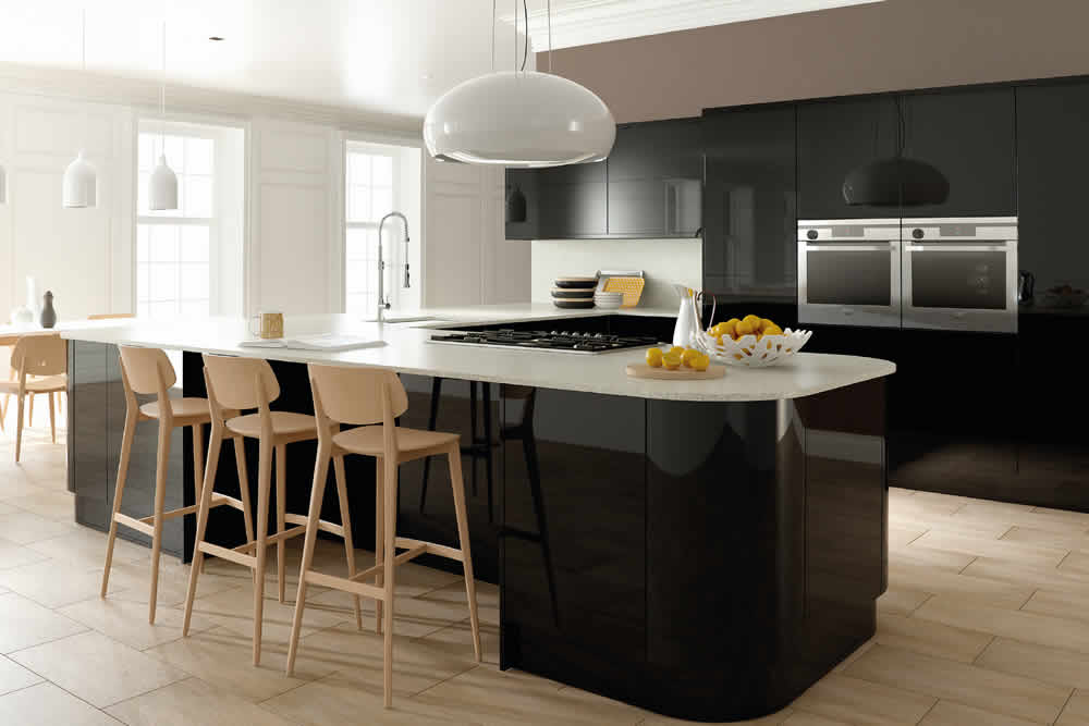 Zurfiz Ultra Gloss Black Kitchen