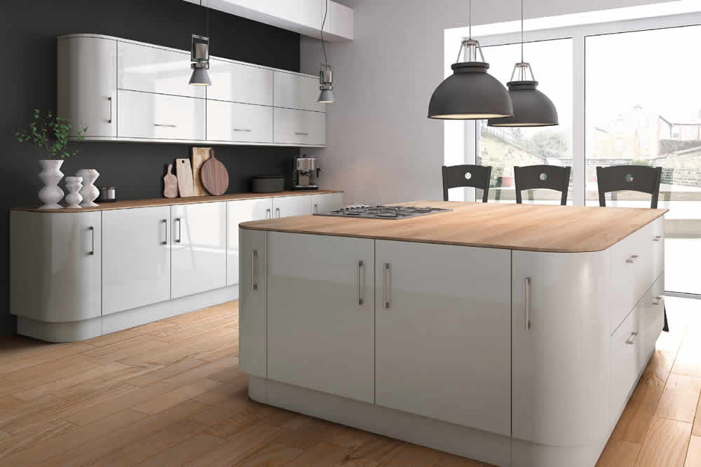 Zurfiz Ultra Gloss Light Grey Kitchen
