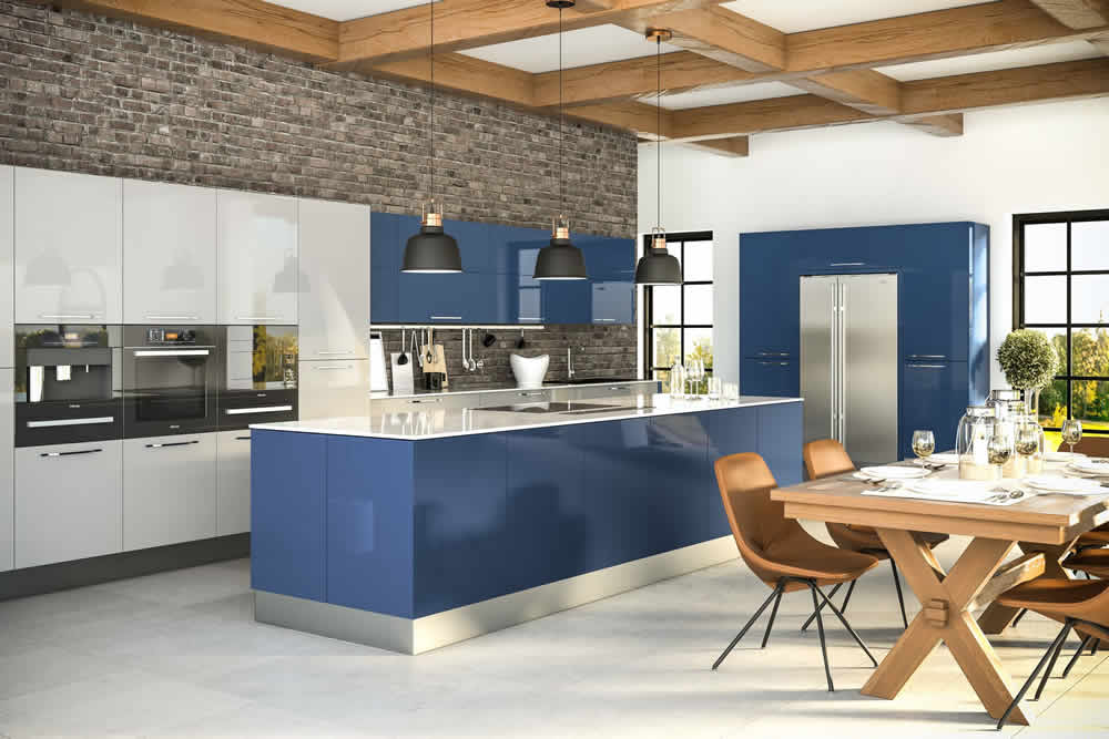 Zurfiz Ultragloss Baltic Blue Ultragloss Light Grey Kitchen